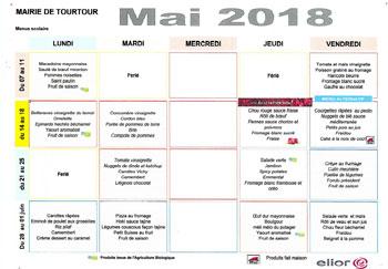 Menu cantine Tourtour Mai 2018